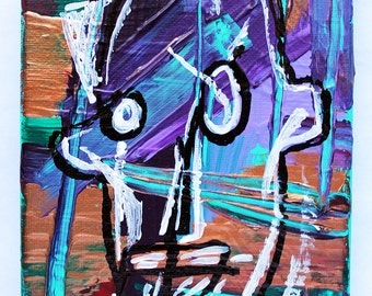 Frank Basquiat 4x7 abstract acrylic painting