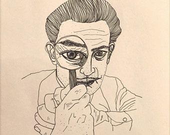 Salvador Dali 8.5 x 11 ink line drawing