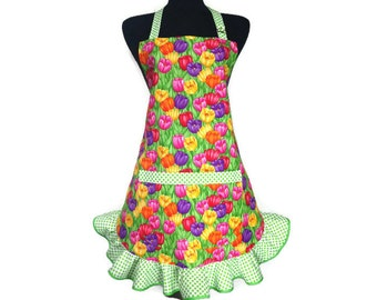 Multicolor Tulip Apron for women with Green and White Polka Dot Ruffle, Retro Kitchen Decor, Floral, Flowers