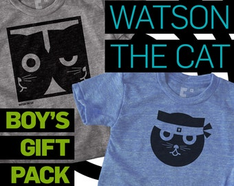 Cat Shirt Boys, Boys Gift Pack, Kung Fu & Dueling Watson the Cat, Hipster Baby, Kawaii, Infant Baby Boy Gift, Boys Clothes, Gift for Kids