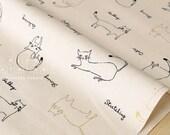 Japanese Fabric Cats being Cats - cream, black, metallic gold - 50cm