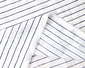 Japanese fabric striped linen - navy blue, ivory - 50cm