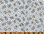 Vintage Quilting Cotton - Blue & Yellow Posies on Blue - 1940s