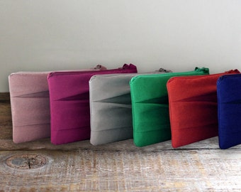 SET OF 6 Pleated Bridesmaid Clutches- Simple Bridesmaid clutch- Variouse colors