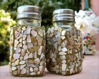 Mosaic Sea Shell Salt and Pepper Shaker Set
