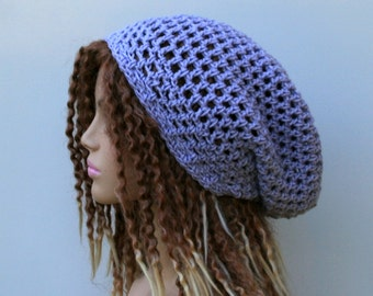 Soft summer slouchy hat, iced orchid light purple small dreadlock beanie tam hat hairnet snood slouchy, slouch beanie, slouchy beanie