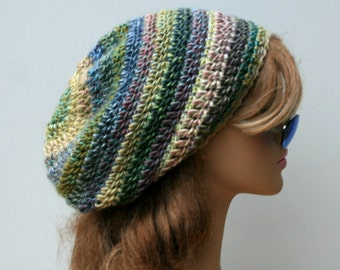 Antique pastel Slouchy beanie, slouchy hat, dread tam hat, Hippie hat, slouch beanie, women hat, crochet beanie, wool blend hat, small tam
