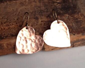 Etsy, Etsy Jewelry, Heart Earrings, Copper Earrings, Hammered Earrings, Metalwork Earrings, Valentine Earrings, Unique, Kitschy