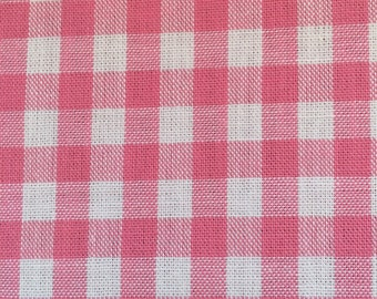 SALE! Pink gingham fabric - one yard