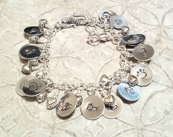 Puppy Dog silver hand stamped  gypsy charm bracelet and it's adjustable too!
