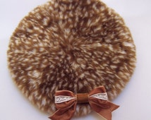 DEER FUR and VELVET Bow Beret