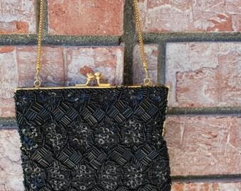 VINTAGE black beaded hand bag