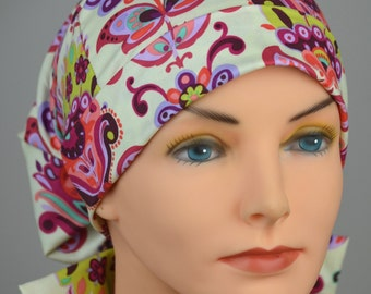 Scrub Hats // Scrub Caps // Scrub Hats for Women // The Hat Cottage // Small // Fabric Ties // Bright Heart
