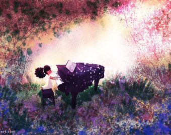 "Piano Lover Art, Music Art, Girl and Piano, Piano Illustration - ""Key of Life"""
