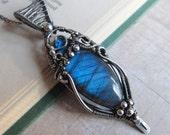 A Shard of Light  - Magical Bright Blue Labradorite Pendant