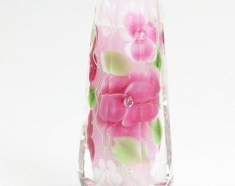 Unique Hand-Faceted Pink Floral Glass Bead...handmade by Highland Beads, lampwork, faceted, pink, flowers