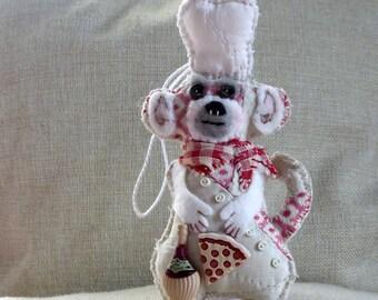 Pizza Monkey Chef Quilty Critter - Italy - OOAK, Novelty, Folk Art, Ornament