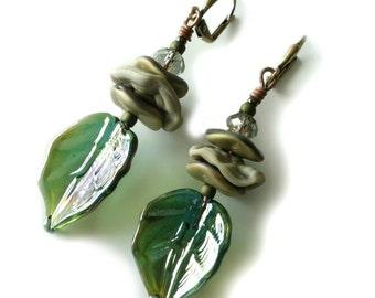 Lampwork Earrings, Green Glass Leaves, Wavy Disc Beads, Crystals, Antique Brass, Autumn, Woods, Beaded Jewelry, Beaded Earrings, OOAK