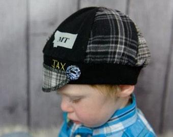 Child Jax Hat in black and grey plaid, lightweight Jax Hat for child, 406 Montana Hat, Plaid Montana Jax Hat, Boy hat, Montana