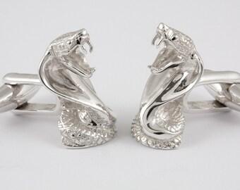 Cobra Snake Cufflinks, Sterling Silver, personalized