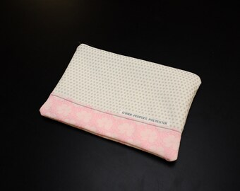 TUTONE vintage polyester zip pouch in Silver Palette