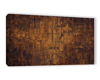 Canvas PRINT Abstract Chocolate Brown Rust Home Decor Wall Art Large Panoramic Art by Susanna