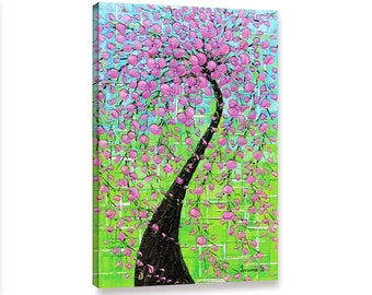 Canvas PRINT Cherry blossom tree Landscape Modern Picture Pink green blue Wall Art Decor Baby Girls Room Art by Susanna