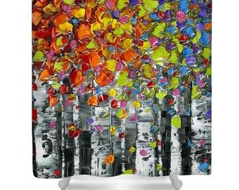 Modern Birch trees Shower Curtain- abstract colorful shower curtain, funky shower curtain art, home decor bathroom art by Susanna