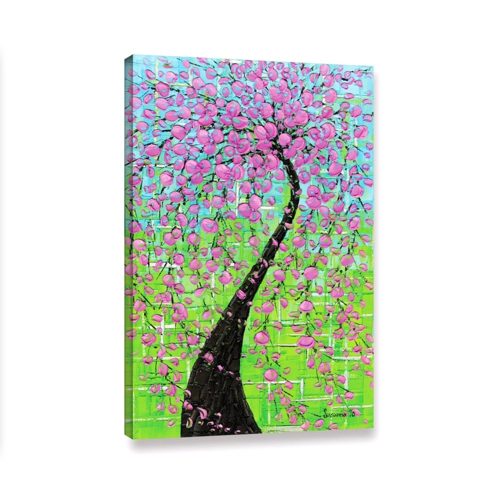Canvas print pink cherry blossom tree art cherry by for Canvas painting of cherry blossoms