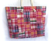 XL travel tote in plaid pink madras and vintage rose, large reversible vacation beach bag with vintage fabric, huge casual shoulder bag