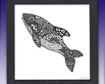 Orca Whale Art Print, Framed