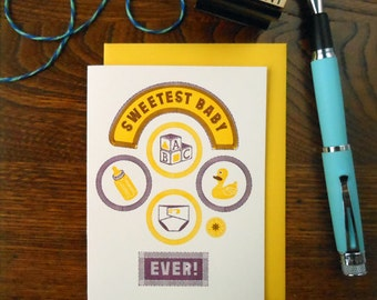 letterpress sweetest baby patches greeting card with newborn icons yellow with plum