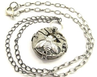 Mechanical Bee Silver ,   Steampunk  Mechanical Bee Creation, Victorian Bee, One of  A Kind