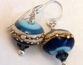 Blue Lampwork Sterling Silver Earrings, Blue Lampwork Earrings, Blue Sterling Silver Earrings, Blue Stripe Earrings, Brown Lampwork Earrings