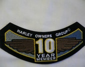Harley Davidson 10 Year Member Iron On Patch, Harley Owners Group, sewing supply, wings, motorcycle