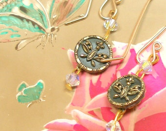 Antique mini BUTTON earrings, Edwardian tiny BUTTERFLIES on gold, Antique button jewellery.