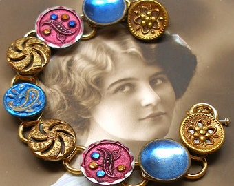 "French Paisley Antique BUTTON bracelet, Victorian twinkles, gold, blue, pink, 7.5"" jewellery."