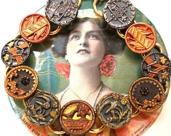 "1800s BUTTON bracelet, Victorian BIRD & flowers, 7.5"" Antique button jewellery."