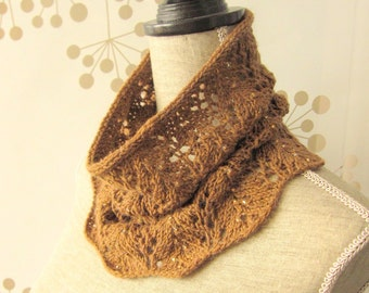 Women Wool Lace Knit Cowl Scarf with Beads - Vines Lace Cowl Scarf with Beads - Made to Order