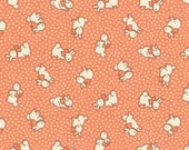 HALF YARD - Bunnies and Dots on Sherbet ORANGE 31280-40 - Retro 30s Child Smile Collection Lecien - Bunny, Rabbit, Polka Dots, Bows, Flower