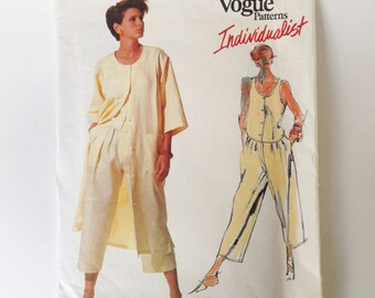 Vintage Vogue Individualist Sewing Pattern 80s Tamotsu Pants Top Coat Dress Vogue 2967 34 Bust