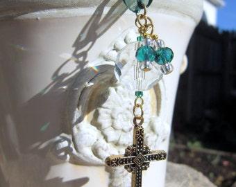 Rearview Mirror Jewelry Charm Car Feng Shui Christian Cross Green