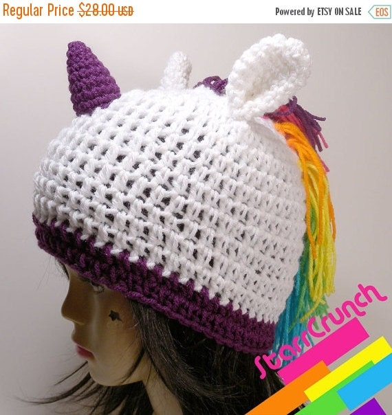 Sale 40% Off Unicorn Hat Rainbow Mane with Sparkly White and Purple