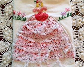 Vintage Pillowcase - Lady in Lacey Dress - Handmade