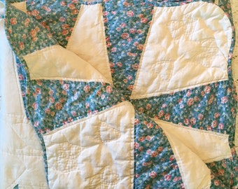 Vintage Quilt - Blanket - Hand Stitched Quilt - Blues & Pink Calico Full Queen