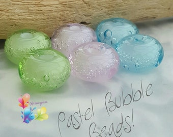 Lampwork Glass Beads Pastel Summer Bubbles Set