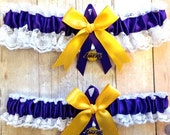 FALL SALE Handmade Lace Wedding Garter Set Los Angeles Lakers LA keepsake and toss Ppgg