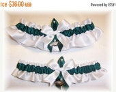 SALE 10% OFF Handmade Wedding Garter Set with Philadelphia Eagles charms SF Satin Wh