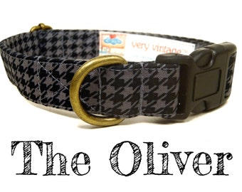 """Black Gray Houndstooth Dog Collar - Organic Cotton - Antique Brass Hardware - """"The Oliver"""""""