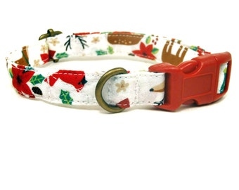 Reindeer Games - Reindeer Santa Evergreen Christmas Tree Winter Xmas Organic Cotton CAT Collar Breakaway Safety - All Antique Brass Hardware
